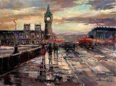"Saatchi Online Artist: Eva Czarniecka; Oil 2013 Painting ""Westminster Bridge """