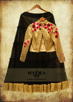 Golden sequinned jacket with black net lehenga, only from Soucika by Kamal Raj…