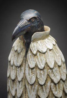 ~Detail, 'Cloak of Shamelessness: Trickster Dreams of Becoming Creator' by American sculptor & artist Hib Sabin. Juniper, pigments, metal stand, x x in. via Stonington Gallery~ Crow Art, Raven Art, Bird Art, Art Sculpture, Pottery Sculpture, Animal Sculptures, Clay Birds, Crows Ravens, Ceramic Animals