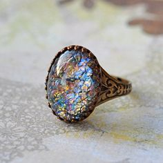 Multicolored glass Opal Ring. Vintage glass on by ElvesGarden