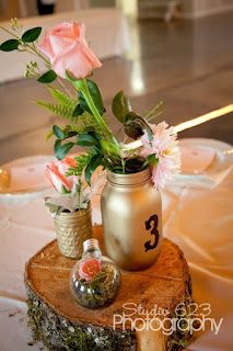 painted mason jar centerpieces and cool lightbulb terrarium!