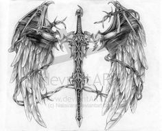 Barbed Winged Sword Tattoo Design