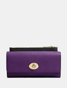 COACH Slim Envelope Wallet with Pop up Pouch in Embossed Textured Colorblock Leather