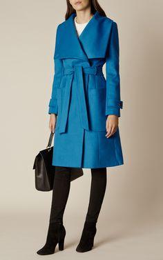 Karen Millen, BLUE BELTED WOOL COAT Blue