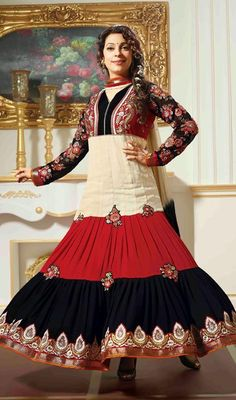 Bollywood Star Juhi Chawla Georgette Anarkali Suit Look as gorgeous as Bollywood star Juhi Chawla dressed in this black, cream and red georgette Anarkali suit. The stunning floral patch, moti, resham and stones work a significant attribute of this attire. #BollywoodStarStyleSuits #BollywoodReplicaChudidarSuits