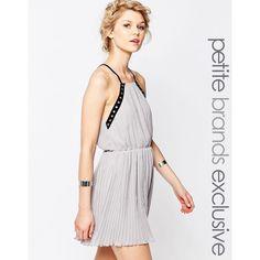 True Decadence Petite Eyelet Trim Chiffon Cami Dress ($45) ❤ liked on Polyvore featuring dresses, grey, petite, grey camisole, petite dresses, eyelet dress, petite chiffon dress and lined dress