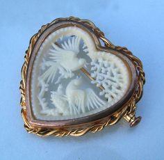Art Deco French Ivory Love Birds on Branch Brooch