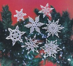 Snowflakes Crochet Patterns 7 Different White by PaperButtercup