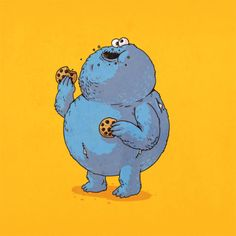 Cookie Monster | Morbidly obese versions of iconic pop culture characters by Alex Solis
