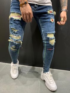 """""""To The Limit"""" Super Destroyed Ripped Jeans - Blue 4532 Ripped Jeans Men, Patched Jeans, Moto Jeans, Men Street Look, Street Style, Repair Jeans, Streetwear Jeans, Denim Joggers, Denim Shirts"""