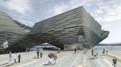 V & A Museum's entrance at Dundee, Scotland, UK by Kengo Kuma  Associates to design Scotland's