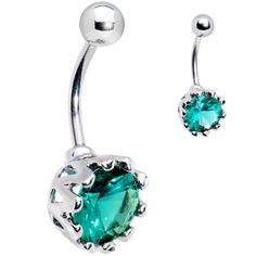 8mm Blue Zircon Cubic Zirconia Belly Ring $11.99 #piercing #Bodycandy #bellyring #bikini #beauty
