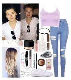 """""""London with Harry"""" by kennedey-lynn-freeman ❤ liked on Polyvore featuring Topshop, WithChic, Ray-Ban, adidas Originals, Rimmel, Trish McEvoy, Iphoria, LORAC, LC Lauren Conrad and Rock Revival"""