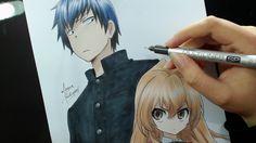 Speed Drawing - Takasu Ryuuji and Aisaka Taiga (Toradora)