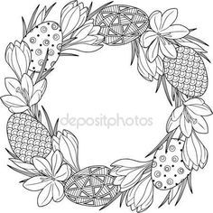 Spring flower wreath of crocuses and easter eggs. Vector elements isolated. Black and white image for adult relaxation. Background for design of cards to the Easter. — Стоковий вектор © natasha-tpr #144410269
