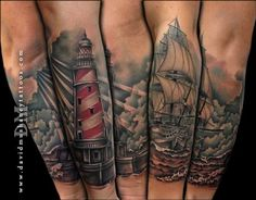 David Mushaney - Lighthouse and Ship Half Sleeve Tattoo