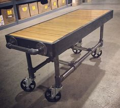 great rolling workbench idea with a salvaged bowling alley top - Rolling Workbench