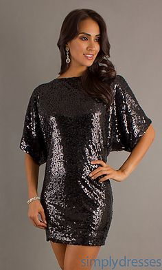Short Black Sequin High Neck Dress at SimplyDresses.com