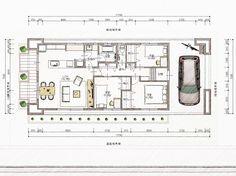 家事動線を考えた間取り&平屋建物を考えてみました。 | 明日家デザイン工房の日々是好日 Sims House Design, House Floor Plans, Flooring, How To Plan, Home Decor, Space, Building, Model, Houses