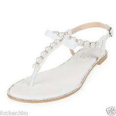 SheSole-Womens-Bridal-Shoes-Party-Beach-Dress-Flat-Gladiator-Pearl-Sandals-Size