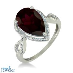 January Birthstone: 3 1/2ct Pear Shaped Garnet and Diamond Ring in 10k White Gold - $199.99