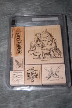 Stampin Up Prehistoric Party Set of 6 Rubber Stamps Birthday RETIRED #StampinUp