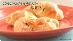 Six Sisters' Stuff: Chicken Ranch Roll-Ups Recipe-- modified a little. Used half of the ranch dressing packet & two tubes of crescent rolls. Kids loved it! Great Recipes, Favorite Recipes, Family Recipes, Duck Recipes, Pizza Recipes, Delicious Recipes, Family Meals, Easy Recipes, Crescent Roll Recipes