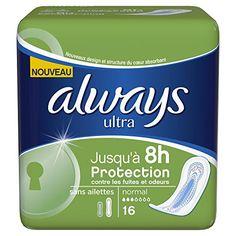Always Serviettes Hygiéniques Normal sans Ailettes X 16 – Lot de 4: Jusqu'à 8h de protection contre les fuites et les odeurs. Super…
