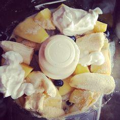 Smoothie: blueberries + bananas + mangos + almond milk + Chobani + whey protein powder + ice.