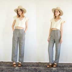 Houndstooth Trousers // Vintage 90s Plaid Wide Leg Cuffed Grey High Waist Pants Mod Minimalist Basic Slacks Small Women's Checkered Pant by TumblingDiceVintage on Etsy https://www.etsy.com/listing/596645302/houndstooth-trousers-vintage-90s-plaid