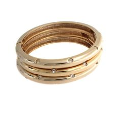"""Real Collectibles Yellow Gold GP Scattered Jewels 3 pc 7.25"""" Hinged Bangle Set #RealCollectiblesbyAdrienne #Bangle"""