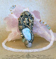 Larimar Rainbow moonstone Mermaid healing crystal necklace