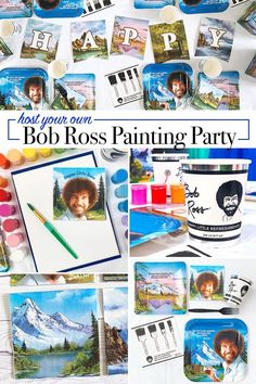 Everything You Need to Host a Bob Ross Painting Party - 100 Directions - - Everything You Need to Host a Bob Ross Painting Party – 100 Directions Painting Host a Bob Ross Painting Party – fun decor from Prime Party Bob Ross Birthday, 14th Birthday, Bob Ross Paintings, Easy Paintings, Art Party, Party Fun, Party Ideas, Party Time