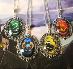 Harry Potter House Crest necklaces by Belle Regalia Slytherin Ravenclaw Hufflepuff Gryffindor