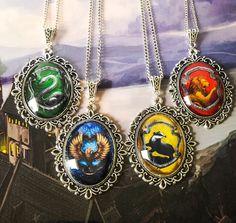 Harry Potter House Crest necklaces by Belle Regalia Slytherin Ravenclaw Hufflepuff Gryffindor