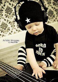 Punk Rock Baby Boy Rockstar Kit black romper one piece layette leg warmers hat gift box YOU CHOOSE IMAGE. $34.00, via Etsy.
