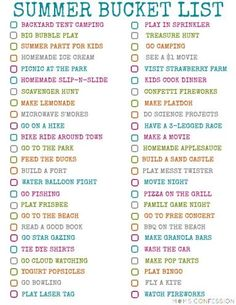 100 DIY Fun Ideas For Your Summer Bucket List free printable - crafts, activities http://www.momsconfession.com/summer-bucket-list-ideas/