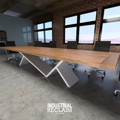 Clean Lines. 14ft Conference Table. Steel Base & Hardwood Top. IndustrialReclaim.com #conference #executive #minimal #custom #angles #industrialfurniture #modernfurniture #design #art #asymmetrical #decor #designer #interior #table #conference #industrial #creative #steel #interiordesigner #interiordesign #modern #office #officedecor #luxury #robbreport #moderndesign #chicago #architecturelovers #chicagogram #cantilever #conferencetable