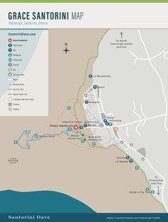 Map of Grace Santorini Hotel in Imerovigli. Santorini Map, Best Hotels In Santorini, Santorini Suites, Santorini Beaches, Greece Hotels, Greece Travel, Greece Trip, Photo Maps, Greece