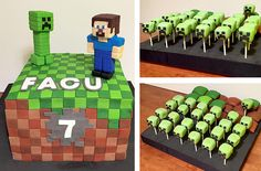 Mesa dulce Minecraft / Minecraft Cake, Cupcakes and Cakepops - Dessert Table
