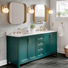 Blue Bathroom Vanity, Bathroom Colors, Bathroom Ideas, Master Bathroom, 5x7 Bathroom Layout, Mint Bathroom, Green Bathroom Decor, Colorful Bathroom, Bathroom Vanity Makeover