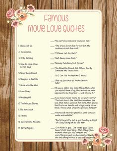 Wedding Bridal Shower Game Famous Movie Love Quotes Printable Couples Shower…