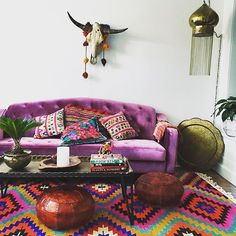 Oh hey @redpoppyvintage -- we love how you decorate wild !! That rug, lamp, pillows and purple sofa!?! What!?! Share your Jungalow Style in our #jungalowstyle feed and we'll regram our faves!!