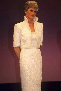 The infamous pearl beaded dress.... Rare photo of the Princess in it without the Cambridge Lovers Knot Tiara.