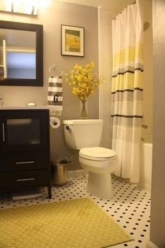 Black, Grey and Yellow Bathroom by cecile