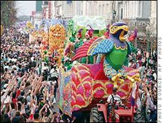 Millions of people, every year, crowd New Orleans to view the Mardi Gras parades.