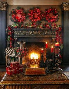 Beautiful Christmas Fireplace Setting