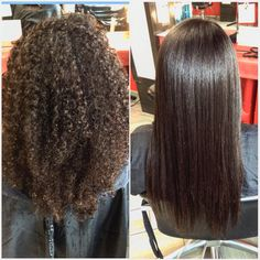From super curly to super straight with Liscio Japanese Straightening! BeforeAndAfter :: RedBloom Salon
