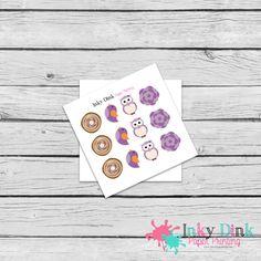 New to InkyDinkPrinting on Etsy: 12 Fall Purple Owl Bird Flower Sample Sheet Planner Stickers Erin Condren Happy Planner Plum Planner Sticker Sampler EC Life Planner SP-46 (1.50 USD)