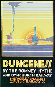 View this item and discover similar for sale at - Original vintage poster for Dungeness by the Romney, Hythe and Dymchurch Railway, the world's smallest public railway. The poster comes with a letter from Posters Uk, Train Posters, Railway Posters, Poster Prints, Modern Posters, Art Deco, Art Nouveau Pintura, British Travel, British Seaside